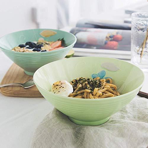 GAXQFEI Cuencos Fruta de Tazón de Fuente Cerámica Ramen Ramen Bowl Restaurante Sopa Bowl Fruit Ensalada Cuenco Hogar Cereal Tazón Postre Cuenco Vegetal Bowl,Verde