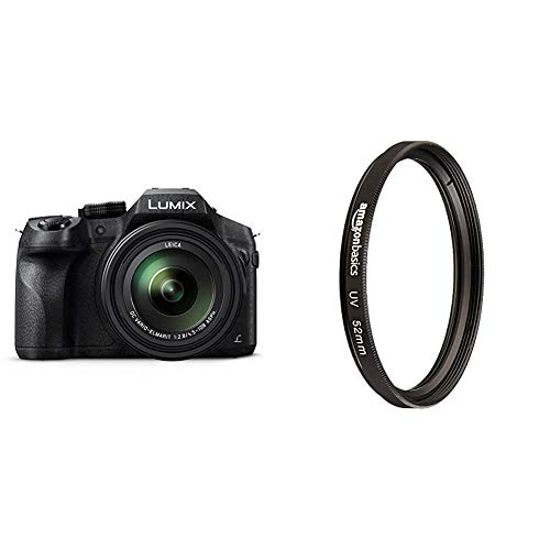 Panasonic LUMIX DMC-FZ300EGK Premium-Bridgekamera (12 Megapixel, 24x Opt. Zoom, Leica DC Weitwinkel-Objektiv, 4K Foto/Video,Staub-/Spritzwasserschutz) schwarz & Amazon Basics UV-Sperrfilter - 52mm