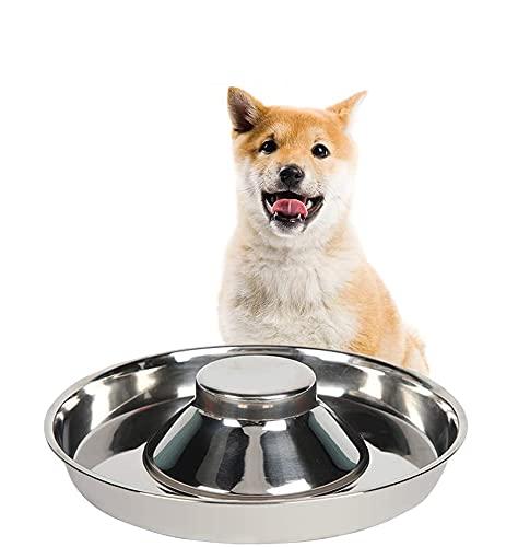 Cuenco de alimentación lenta para cachorros, de acero inoxidable, comedero para perros y gatos, cuenco para destete para cachorros y gatos para comer y beber al mismo tiempo (26 cm)