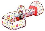 Zerone Jugar tienda de campaña y túnel, 3 en 1 Pop tienda juego túnel bola piscina casita plegable con bolsa para niños de bebé niños juguetes interior al aire libre
