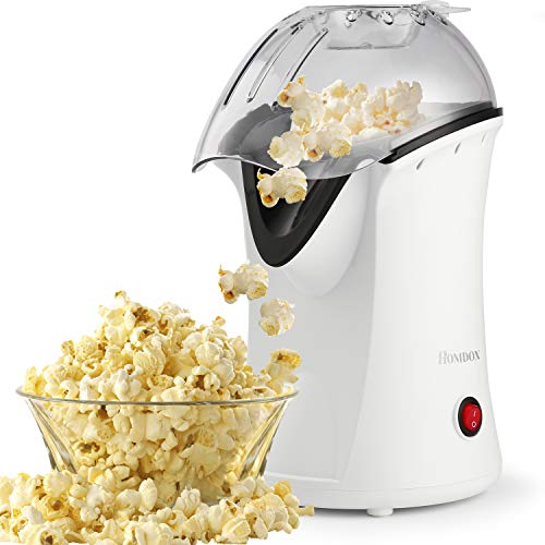 Lowest Prices! Hot Air Popcorn Maker 1200W No Oil Popcorn Popper Machine with Measuring Cup and Remo...