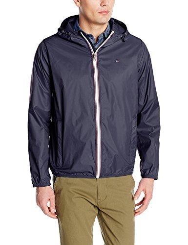 Tommy Hilfiger Men's Lightweight Hooded Packable Windbreaker Jacket, Navy, XL