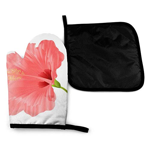 Mitts Flower Tropical Plant Hibiscus Pink Heat Resistant Oven Gloves Silicone Oven Glove Funny Oven Mitts,Perfect for Baking BBQ Cooking Grilling