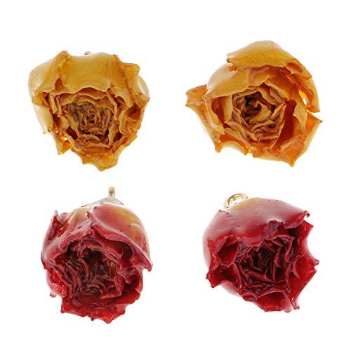 Almencla 2 Pares de Mujeres Secas Flor de Rosa Bricolaje Fabricación de Pendientes Artesanales