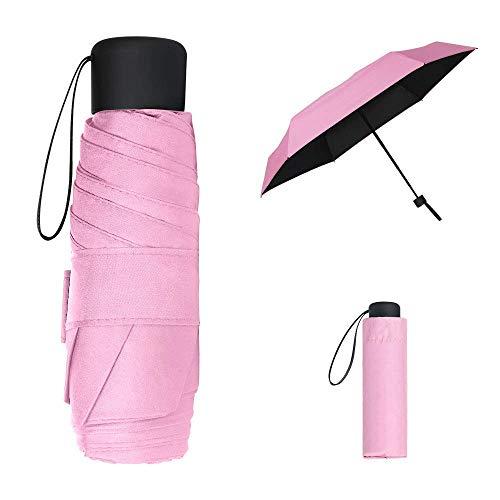 Mini paraguas de viaje, paraguas de bolsillo, color rosa, portátil, compacto, plegable, pequeño y ligero, impermeable, lluvia y sombrilla