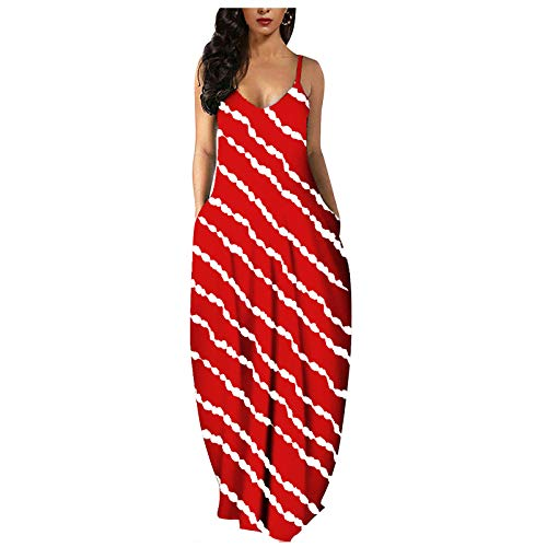 JUNLIN Dress Spaghetti Strap Summer Casual Sundress Beach Sleeveless Dress Red