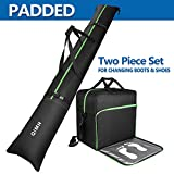 QiMH Padded Ski Bag & Boot Bag Combo - Ski Boot Travel Bag Fit Skis Up to 200 cm...