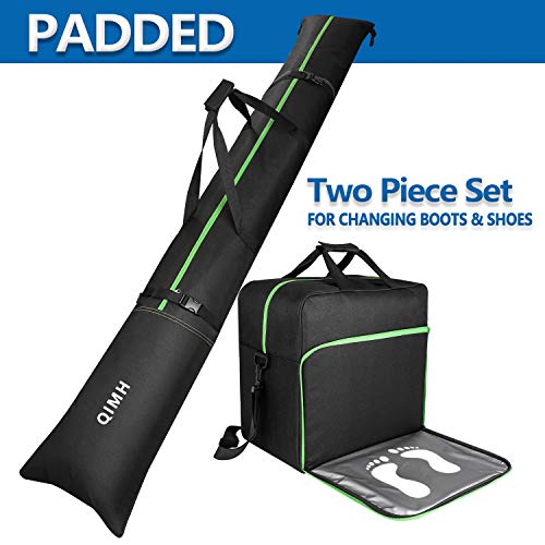 QiMH Padded Ski Bag & Boot Bag Combo - Ski Boot Travel Bag Fit Skis Up to 200 cm & Boots Size 13 - Padding 5mm Foam Ski Gear Bag - Waterproof - Store & Transport Skis