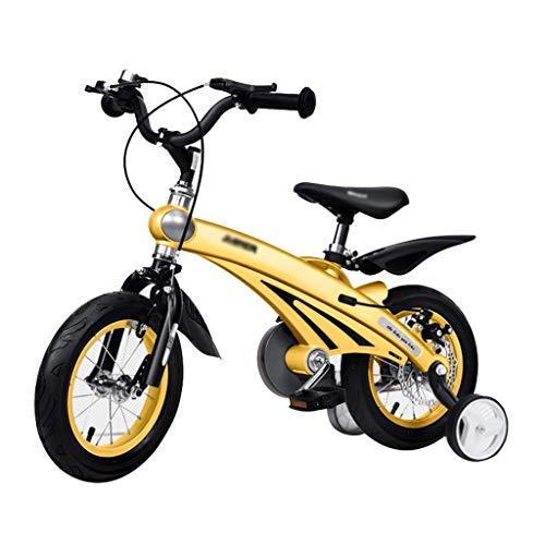 Biciclette Bici per Bambini Triciclo Equilibrato Bambini con Ruota Ausiliaria Passeggino per Mountain Bike Ragazzi Pedalatore (Color : Yellow, Size : 12 Inches)