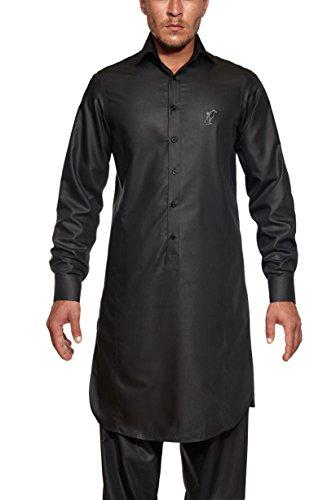 Afghanische Kleidung Männer, Kurta, Perahan Tunban, Set Hemd & Hose, Blau (XL, schwarz)