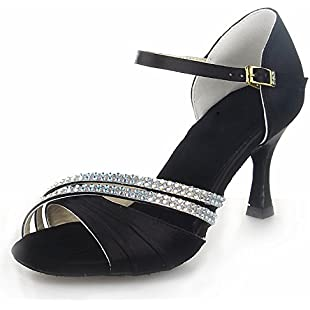 JIA JIA 20524 Latin Women's Sandals 2.7'' Flared Heel Super Satin with Rhinestone Dance Shoes Black, 5 UK/38 EU