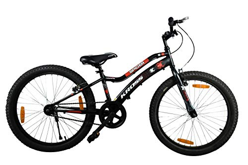 KROSS Spider 24 Inches Single Speed Unisex Bike for Boy's and Girl's With Steel Frame(Black)
