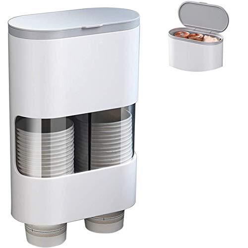 JYZ Dispensador de Vasos Desechables, dispensador de plástico para Paredes o Papel Tapiz, dispensador de portavasos desechable a Prueba de Polvo e Impermeable, con 2 portavasos