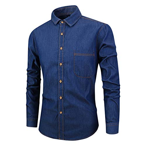 ZCZH Men's Denim Shirts Mens Plain Business Shirt Fashion Denim Dress Shirt Autumn Winter Party Prom Shirt Leisure Button Down Long Sleeve Classic Shirts Casual Work Shirt Slim Fit Shirts Tops L