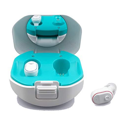 BJ&HH Recargable Mini Itchearing Aids Ear Amplificador De Sonido Inalámbrico Portátil Potenciador para Pacientes De Mediana Edad Y Ancianos con Pérdida Auditiva,Blanco