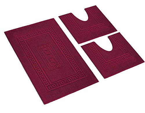 HomeIt - Set Tappeti Bagno 3 Pezzi in Cotone - Elegante Parure tappetini in Spugna: 1 Tappeto 60X90 2 Girowater/Girobidet - Lavabile Lavatrice - Made in Italy (Bordeux)