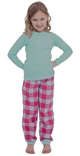 Filles Riche en Coton Pyjama/Jeu de PJ avec Haut Manches Longues - Bleu Clair/Rose, 4-5 Ans