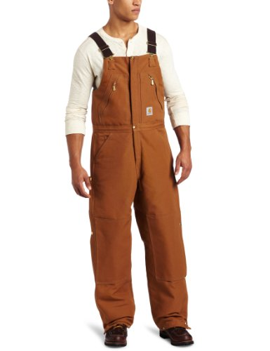 Carhartt Men's Quilt Lined Zip to Waist Biberalls, Brown, 36W x 34L