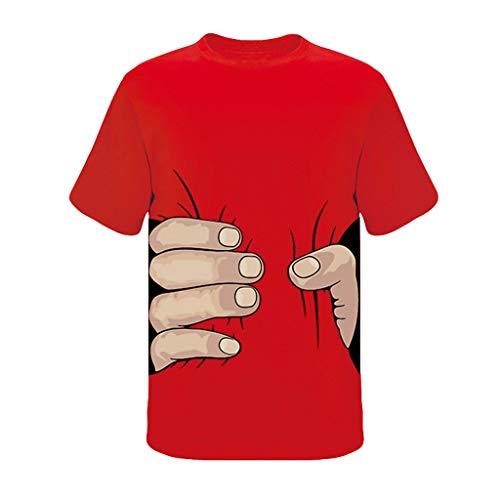 Tyoby Herren T-Shirt Drucken Großer Finger Fun Freizeit Kurzärmliges Oberteil Sommer Mode Tops Herrenbekleidung (rot,XL)