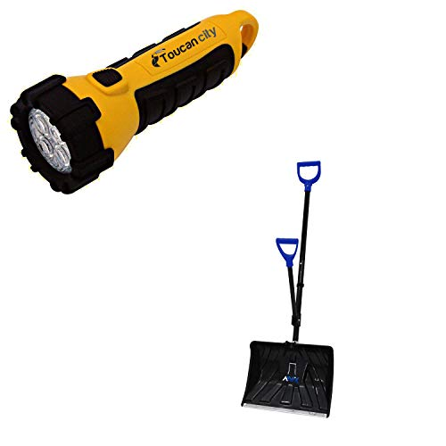 Toucan City LED Flashlight and Aavix 18 in. 2-in-1 Ergonomic Snow Shovel/Ice Chisel AGT312