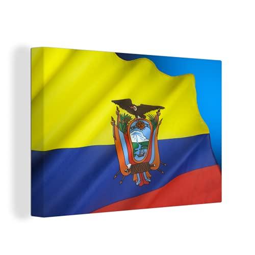 Leinwandbild - Flagge von Ecuador auf einem blauen Hintergr& - 150x100 cm
