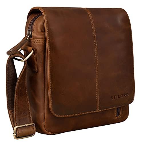 STILORD 'Matt' Mariconera Piel Auténtico para Hombres Bolso Vintage para Hombres Bolsito Mensajero Bolsa de Hombro o Bandolera Cuero, Color:Mocca - marrón Oscuro