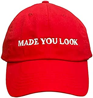 Made You Look Red Hat - The Original Joke Hat for 2019 | Hilarious Dad Hat to Trigger a Smile Fits All for Both Men & Women! | Great Party Hat | Funny MAGA Hat Spin-Off
