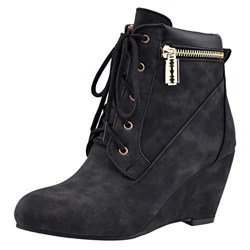 BeiaMina Damen Leisure Keilabsatz Knöchel Stiefel Schnüren Kleid Stiefel Hohe Ferse Party Stiefel Winterschuhe Black Gr 47 Asiatisch