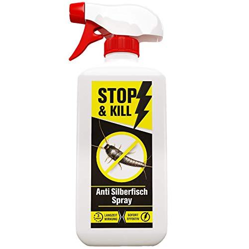 STOP & KILL Anti Silberfisch Spray 500ml | Geruchloses Mittel gegen Silberfische mit Langzeitwirkung | Hochwirksame Bekämpfung gegen Silberfischchen |Alternative zu Köderdosen und Silberfischfallen