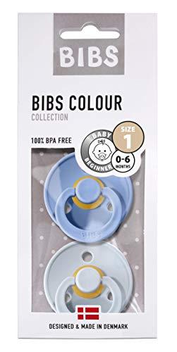 BIBS Schnuller Colour 2er Pack Größe 1 (0-6 Monate), Naturkautschuk, dänische Schnuller mit Kirschform (Sky Blue/Baby Blue, Größe 1 (0-6 Monate))