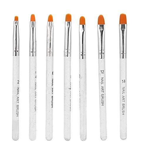 7pcs Nail Art Brush Set,Nail Painting Drawing Pen Liner Set, Nail Art Tips Builder, with Glitter Transparent Handle, for Salon DIY UV Gel Use(Transparent Color)