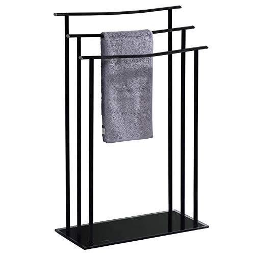 IDIMEX Handtuchhalter ARNAU, Handtücher Handtuchständer Badetuchhalter, mit 3 Handtuchstangen in schwarz