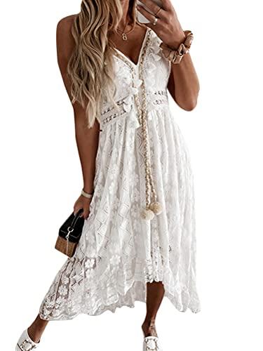 Onsoyours Damen Ärmellos V-Ausschnitt Retro Sommer Spitzen Strandkleid Maxi Kleider Boho Lang Lose Sommerkleid Elegant Casual A-Linie Kleid A...