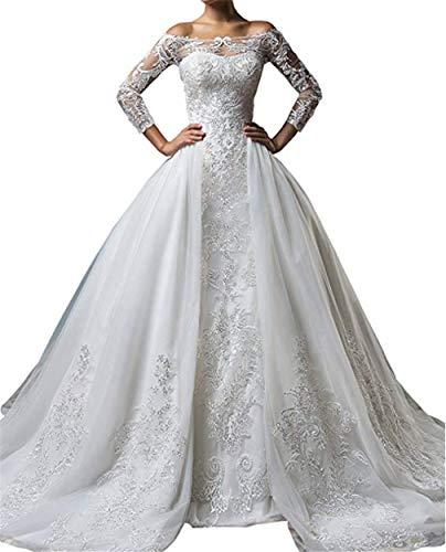 BIANJESUS Dreiviertel ärmelloses A-Linie Brautkleid für Damen mit abnehmbarem Kapelle-Schleppe XL