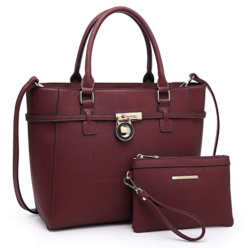 Handbags for Women Tote Bag Shoulder Bag Top Handle Satchel Hobo Purse 2pcs w/Padlock (Wine)