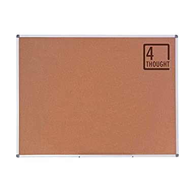 4 Thought Cork Board Bulletin Board 48 x 36 Inches, Cork Notice Pin Board Memo Board with Silver Aluminium Frame for Display and Organize Office or Classroom, 4 x 3 Feet, 10 Push Pins Included