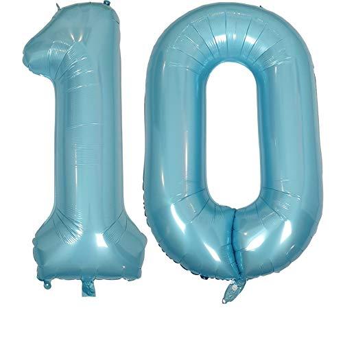 DIWULI, XXL giganti Palloncini, Numero 10, Pearl Blue Numeri, Pallone in Foil blu Anni gonfiabile grande gigante ragazzo ragazza, 10° Compleanno, Matrimonio, Festa, Nozze, Anniversario, Decorazione
