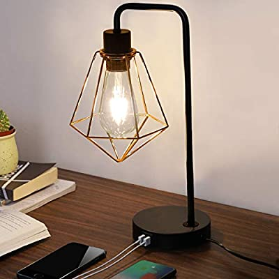 SOTTAE Dual USB Modern Geometric Gold and Black Metal Cage Industrial Table Lamp, Desk Lamp with 2 USB Charging Port, Black Bedside Nightstand Edison Table Lamp for Bedroom, Living Room, Office