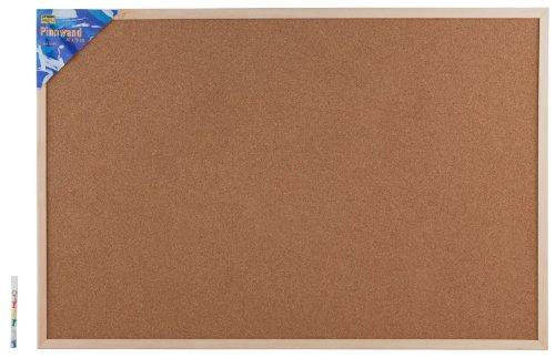 Idena Pinnwand mit Holzrahmen 60 x 90 cm - inkl. 5 Pinwandnadeln und 2 Schrauben, 568023