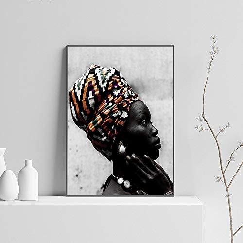 ganlanshu Stampa su Tela Wall Art Arte Africana Donna per Decorazione murale posterliving Room Poster anddecor 60x80cmPittura Senza Cornice