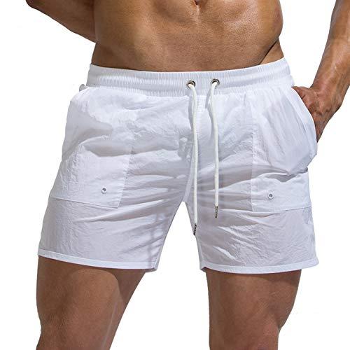 Tofern Badeshorts Herren Badehose einfarbig mit Hosentasche Gummiband atmungsaktiv für Strand, Weiß XS (Tailleumfang 68-76cm) (Tag M)