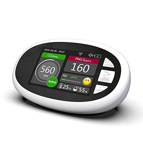 Detector de CO2 6 en 1, medidor de temperatura, humedad y calidad del aire Crtkoiwa, comprobador de vigilancia de contador de CO2 con pantalla LCD, batería de 2000 mAh y cable USB