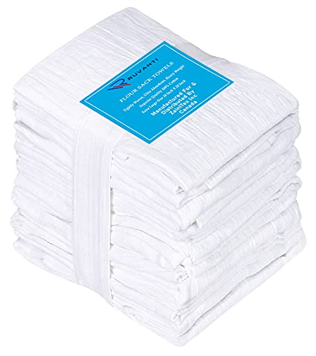 Ruvanti 12 Pack Extra Large Flour Sack Dish Towels (28' X 28') Highly Absorbent Tea Towels/Kitchen Towels - 100% Cotton Multi-Purpose Towels for Embroidery. Cleaning Cloth/Dish Towels/Bar Towels.