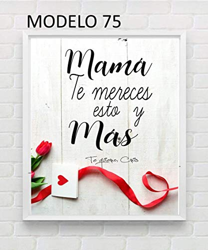 Cuadro personalizado para mamá. Elige tamaño, color del marco y modelo. Regalo/Bodas/San Valentín/Cumpleaños/Ella/Aniversario