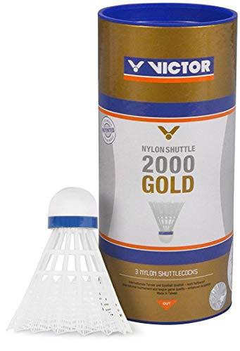 VICTOR Badminton Federball Nylon 2000 3er Dose, Weiß/Blau