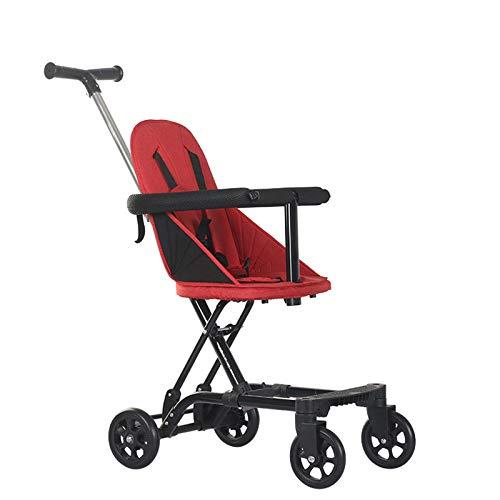 ZKK Cochecitos de bebé, cochecitos de bebé con cuatro ruedas para viajes al aire libre, excursiones, paseos en el parque, compras, etc. (color: rojo)