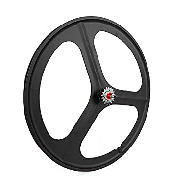 WINUS Bike Mag Wheel Set, 700C Fixed Gear(Front Rear) 17 Teeth Tri Spoke Rim Fixie Single Speed Bike Front & Rear Set White/Black (Rear Wheel Black)