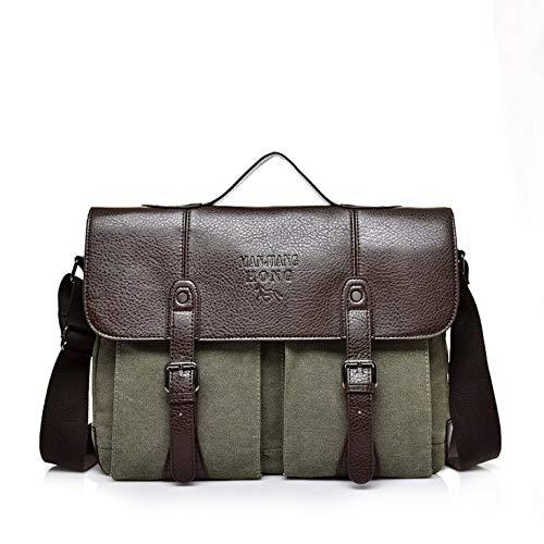 Herenrugzak schoudertas diagonale tas laptoptas bedrijfsaktentas waterdicht groen multifunctioneel canvas tas met grote capaciteit