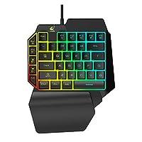 片手人間工学に基づくユニバーサルノートパソコン有線USBゲーミングLEDバックライトホーム39キーズオフィス携帯電話パッドキーボード (Color : A)