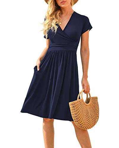 LILBETTER Women Summer Casual Short Sleeve Dresses Empire Waist Dress...